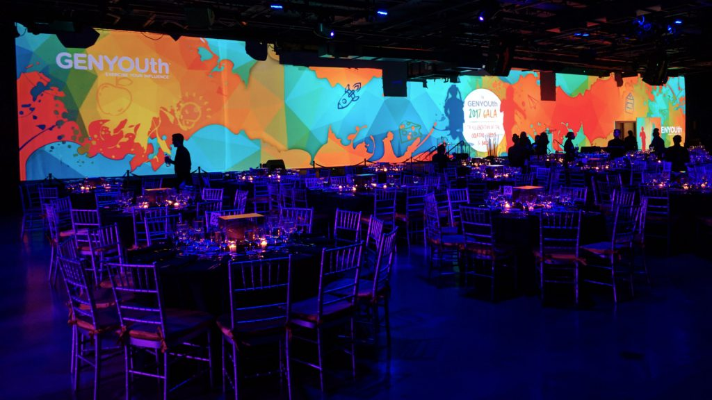Gala dinner projection mapping Intrepid