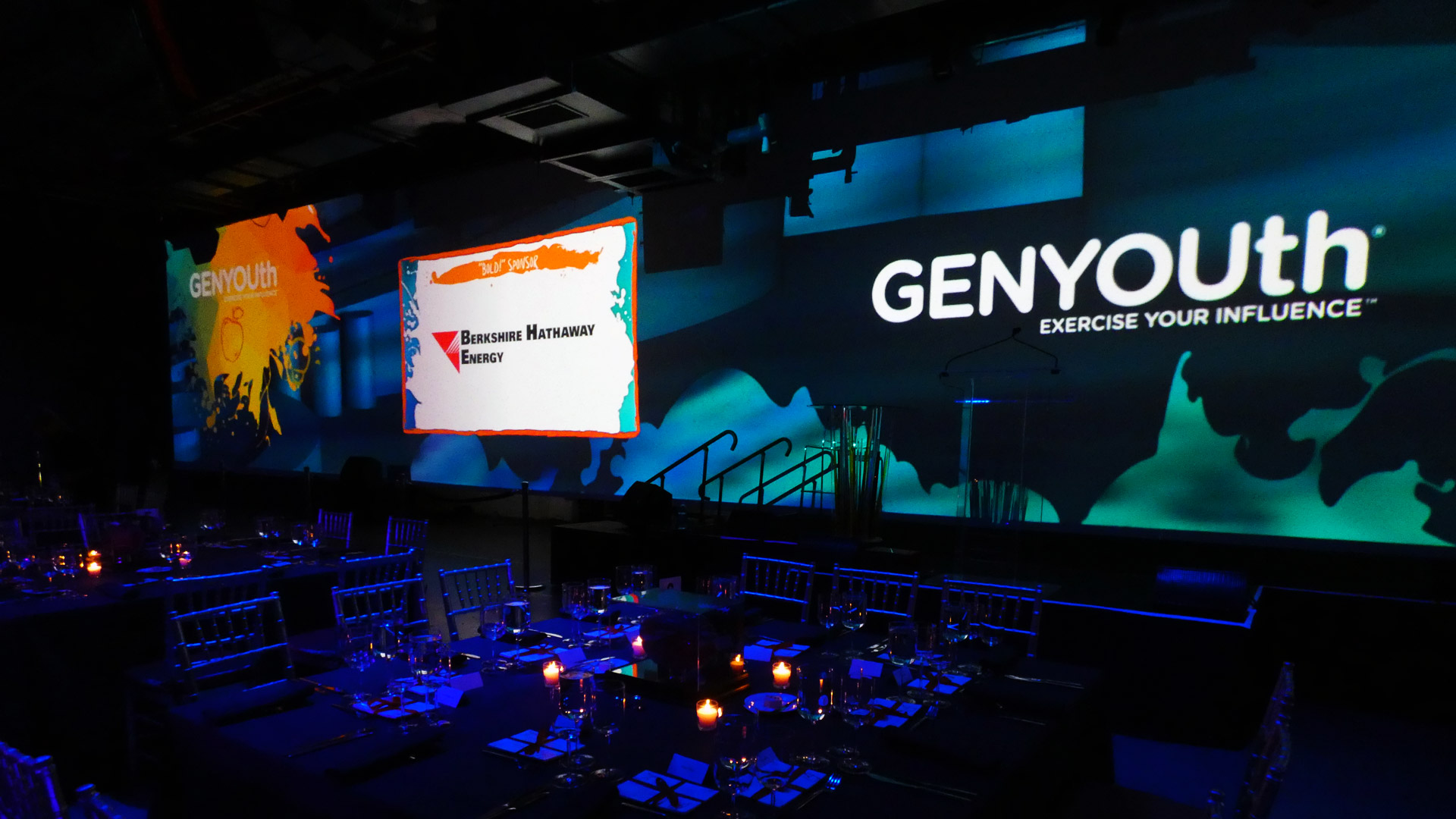 Projection mapping backdrop graphics